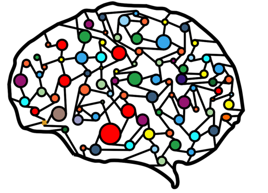 a drawn of a brain with various colored marker points mapped throughout the shape - deep learning concept image